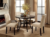 5 Pcs Light Walnut Finish Circle Dining
