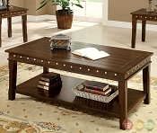 3 Pcs Walnut Finish Coffee Table Set
