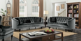 Manuela 2 Pcs Grey Velvet Sofa set