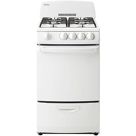 Danby 20-Inch Gas Range with 4 Burners, Electronic Ignition and 2.4 Cubic Feet Oven, White
