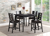 5 Pcs Wooden Top Black Finish Counter Height Table Set