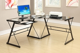 3 Piece Black Metal Work Station