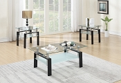 3-Pcs Glass Coffee Table Set