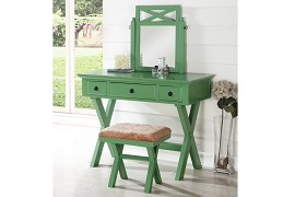 Green Vanity Set with Stool