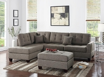 3pc Linen Fabric Sectional w/ottoman - color option