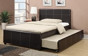 Faux Leatherette Bed Frame with Trundle