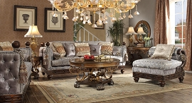 2 Pcs Metallic  Silk Sofa and Chaise Living Room Set