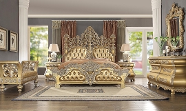 Antique Style Gold Finish Bed Frame
