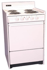 Brown 24 in. 2.9 cu. ft. Electric Range Oven in White