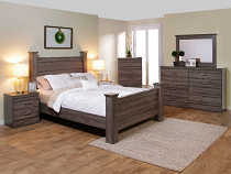 *NEW* ASPEN - series 3000 Upholstered Poster Bed - Abbey Gray