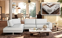Accenti Italia - Bellagio Italian Modern White Leather Sectional Sofa w/ Adjustable Backrests
