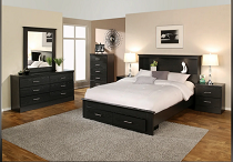 VERONA - series 2500 Storage Bed Bookcase Headboard - Black Oak