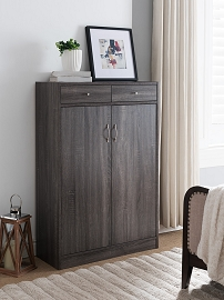 Erica Distressed Grey Wood Shoe Cabinet
