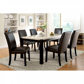 5 Pcs Marble Dining Set - Brown