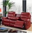 2 Pcs Cavan Leatherette Sofa Set- Red or Black