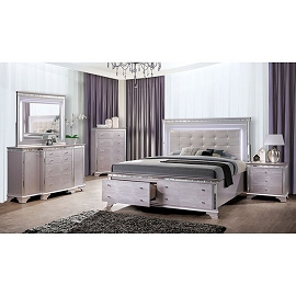 Claudette Silver Rose Finish Bed Frame