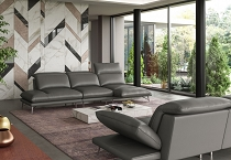Coronelli Collezioni Milano Modern Italian Leather Grey Sectional Sofa