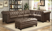 Brown Leatherette Tufted Sectional with Ottoman