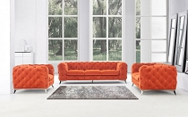 Divani Casa Delilah - Modern Orange Fabric Sofa Set