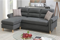 Slate Color 2-Pcs Sectional W/2 Accent Pillow  (out of stock  ETA in 10 days of 2020-10-19)