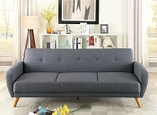 Blue Grey Polyfiber Adjustable Sofa