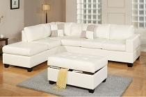 White Sectional w/ Ottoman