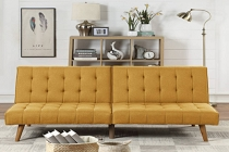 Mustard Linen Adjustable Sofa