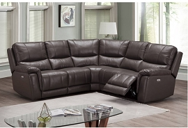Espresso or Slate  Grey Top Grain Leather Power Motion Sectional