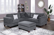 3-PC Grey SECTIONAL W/2 ACCENT PILLOW (OTTOMAN INCLUDED) (ETA in 10 days of	2020-10-19