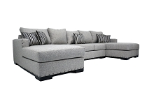 Double Chaise Sectional In Beige Linen