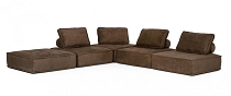 Divani Casa Nolden - Modern Brown Fabric Sectional Sofa