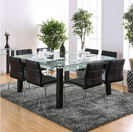 BATESLAND I - 9 PC Tempered Glass Black Dining Set