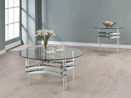 Contemporary Chrome Round Coffee Table