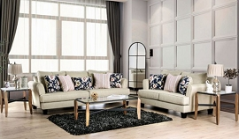 DENBIGH - Sofa  beige fabric