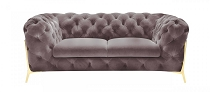 Divani Casa Sheila - Transitional Silver Fabric Loveseat