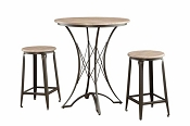 3 Pcs Wooden Counter Height Table Set