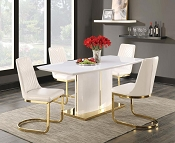 Cornelia High Gloss White Dining Table Set