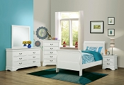 Louis Philippe  White Finish Sleigh Style Bed- Twin or Full