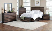 Octavia Coffee & Sappy Walnut Queen Size Platform Bed