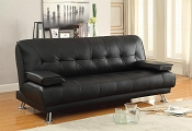 Contemporary Black Leatherette Futon