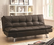 Contemporary Brown Leatherette Futon