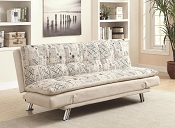 Contemporary Oatmeal Linen Futon