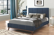 Charity Dark Blue  Upholstered Platform Bed
