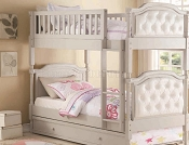 Twin Bunk Bed in Gray & White with Trundle