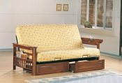 Weathered Oak Futon Frame with Pad