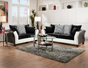 2 Pcs White and Black Sofa Set