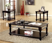 3 Pcs  Espresso Wooden Coffee Table Set