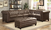 Button-Tufted Sectional Sofa with Armless Chair