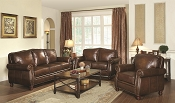 2 Pcs Mont Brook Traditional Sofa Set with Rolled Arms and Nail Head Trim