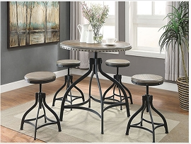 5-PC Swivel Table & Stool Set - Rustic Grey